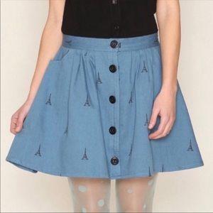 NWT ModCloth Geraldine Eiffel Tower skirt